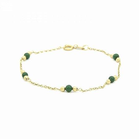 Pulseira Dourada Folheada com Pedra Verde