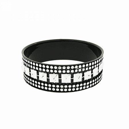 Pulseira Bracelete Preta com Spike e Bolinhas Prateadas