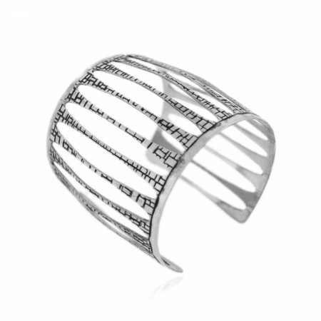 Pulseira Bracelete Prateada Texturizada