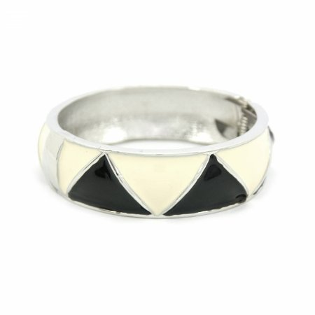 Pulseira Bracelete Esmaltada na cor Preta e Off White