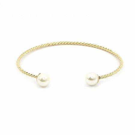 Pulseira Bracelete Dourada com Pérola