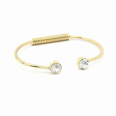 Pulseira Bracelete Dourada com Pedrinha