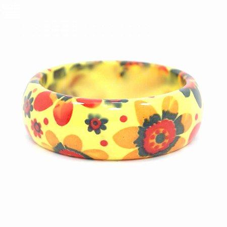 Pulseira Bracelete Amarelo com Flores