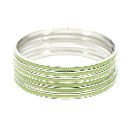 Kit Pulseira Prateada com Verde