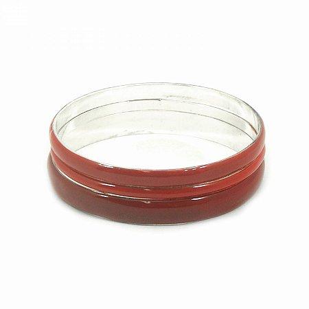 Kit Pulseira Prateada com Resina Vermelha