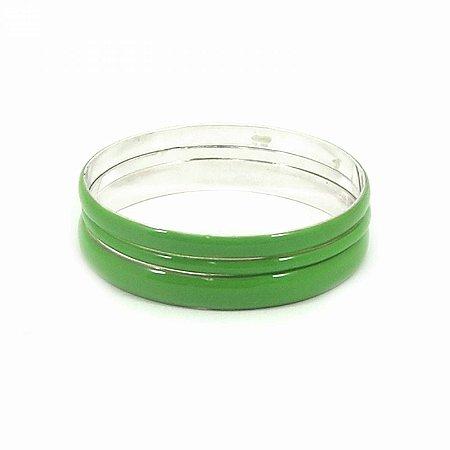 Kit Pulseira Prateada com Resina Verde