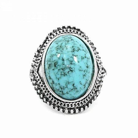 Maxi Anel Prateado Regulável com Pedra Azul Turquesa