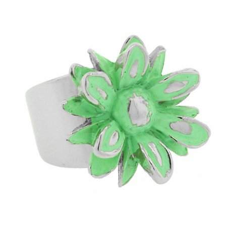 Anel Prateado de Flor Verde