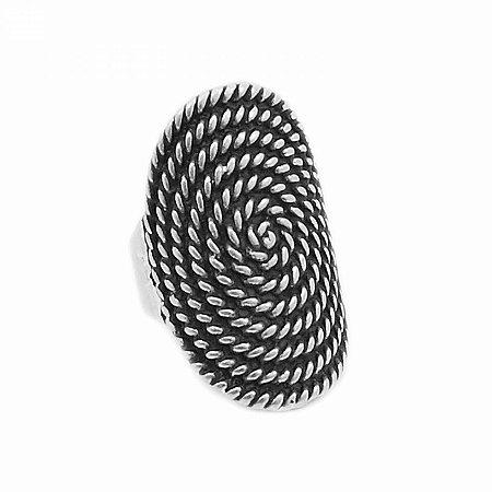 Anel Prateado Espiral