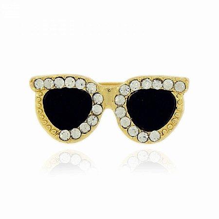 Anel Dourado Óculos Preto