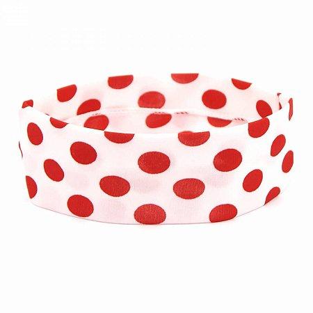 Faixa Poá Branca com Bolinhas Vermelhas