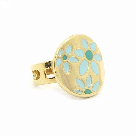 Anel Regulável Dourado com Flores Azuis