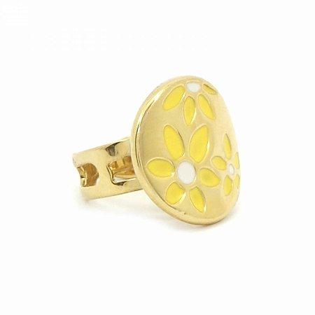 Anel Regulável Dourado com Flores Amarelas