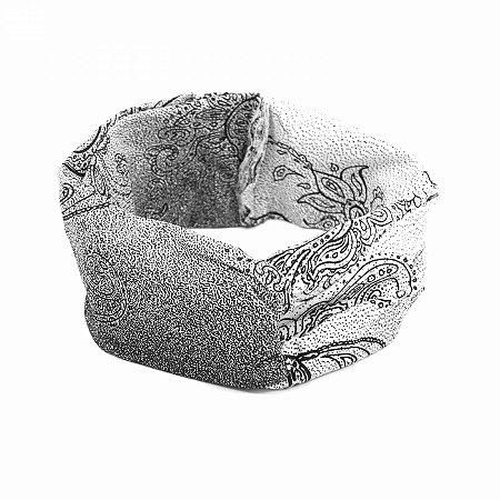 Headband Branco Desenhos Preto e Flores