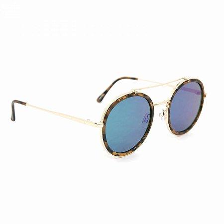 Óculos de Sol Rosé Tigrado com Lente Espelhada