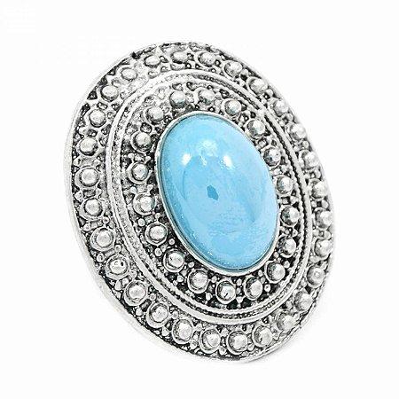 Maxi Anel Regulável Boho com Pedra Azul Turquesa