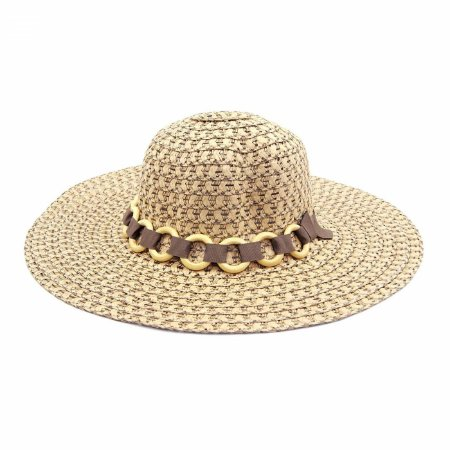 Chapéu de Praia Marrom com Faixa de Elos