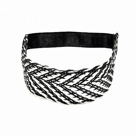 Headband Largo Prateado com Preto