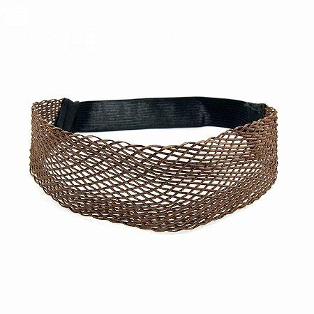 Headband Largo Trançado Marrom