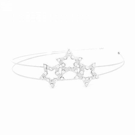 Tiara de Metal Dupla Prateada com Detalhe Estrelas