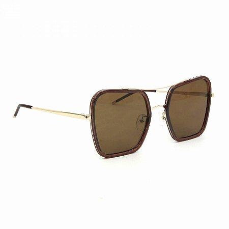 Óculos Feminino Quadrado Dourado e Marrom