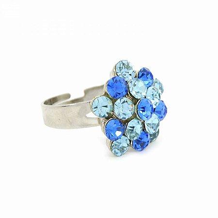Anel Regulável Prateado com Flor de Strass Azul