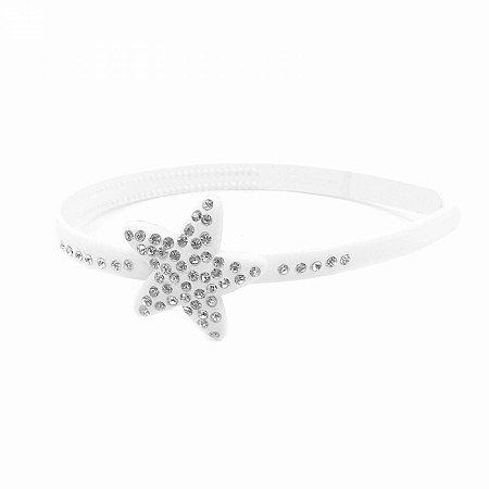 Tiara Acrílica Branca Detalhe Estrela com Strass
