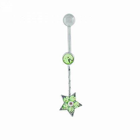 Piercing de Umbigo Prateado de Estrela com Strass Verde