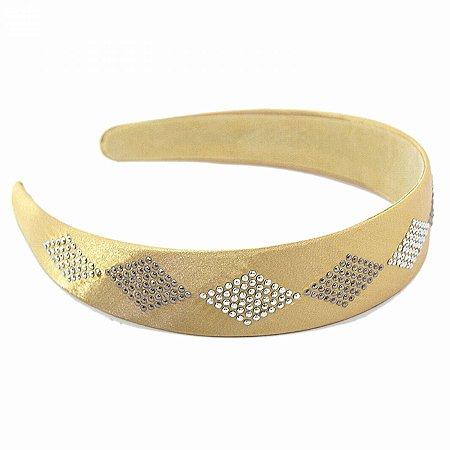 Tiara de Pano Dourada com Tachinhas em Losângo