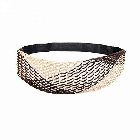 Headband Largo Marrom e Bege