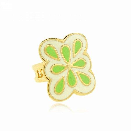 Anel Dourado Regulável Verde