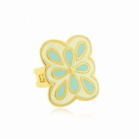 Anel Regulável Dourado Azul