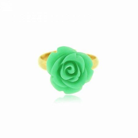 Anel Regulável Dourado com Flor Verde Água