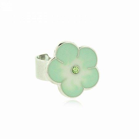 Anel Regulável Prateado com Florzinha Verde Claro