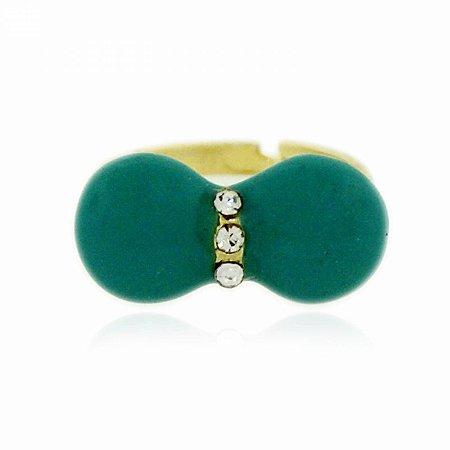 Anel Regulável Falange Dourado com Laço Verde e Strass