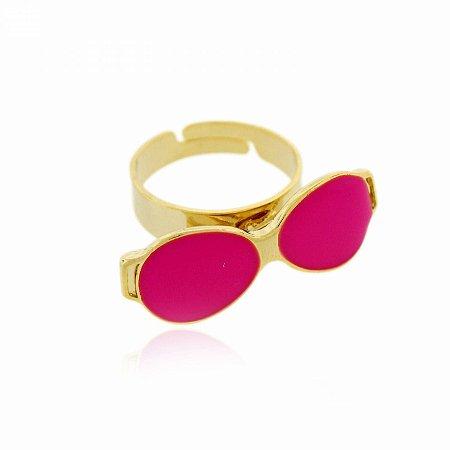Anel Regulável Dourado de Óculos cor Rosa Neon