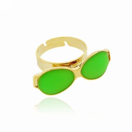 Anel Regulável Dourado de Óculos cor Verde Neon