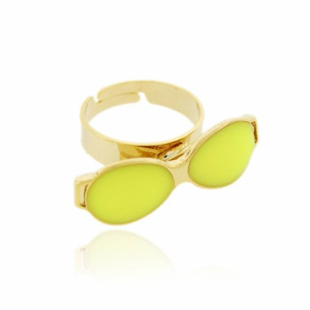 Anel Regulável Dourado de Óculos cor Amarelo Neon