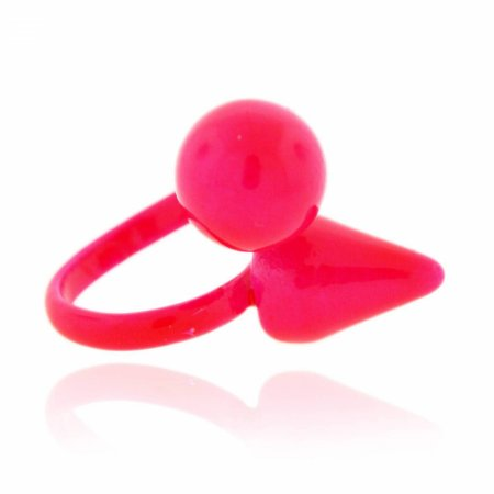 Anel Regulável Spike e Bola Rosa Neon