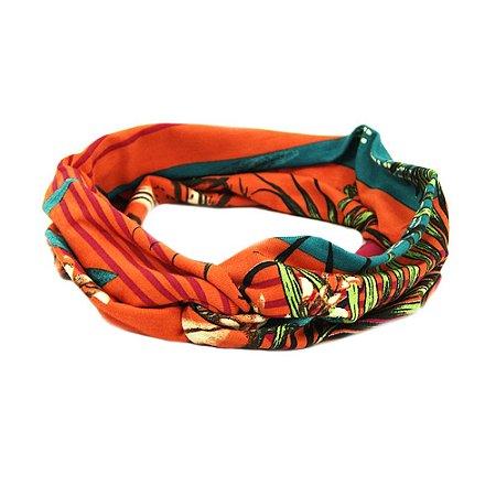 Headband Turbante Laranja Floral