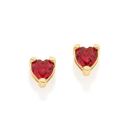 Brinco solitário composto por 2 zircônias no formato coração Rommanel
