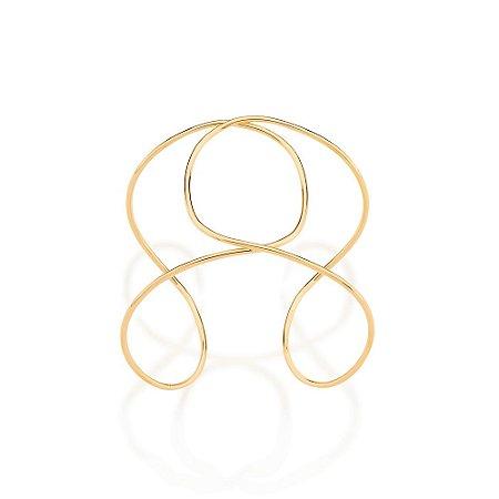 Bracelete formado por aro duplo entrelaçado formando detalhe oval Rommanel