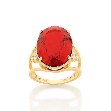 Maxi anel com laterais vazadas e cravejadas 6 zircônias Vermelho Rummanel