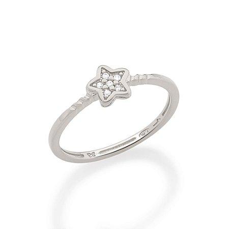 Anel skinny ring composto por estrela, cravejada por 6 zircônias  Rommanel