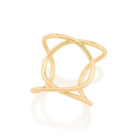 Maxi anel ajustável aro duplo entrelaçado Rommanel
