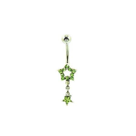 Piercing de Umbigo Prateado com Estrelas de Strass Verde