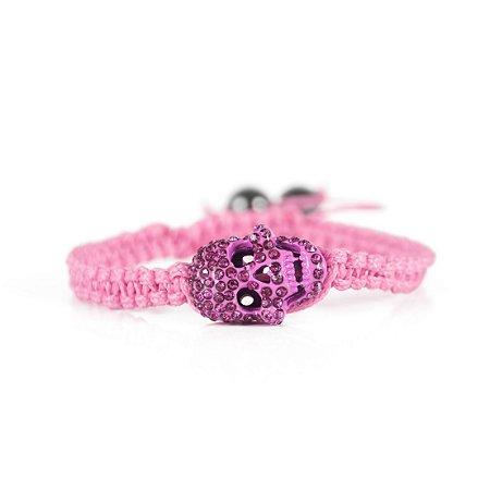 Pulseira Pink com Caveira em Strass