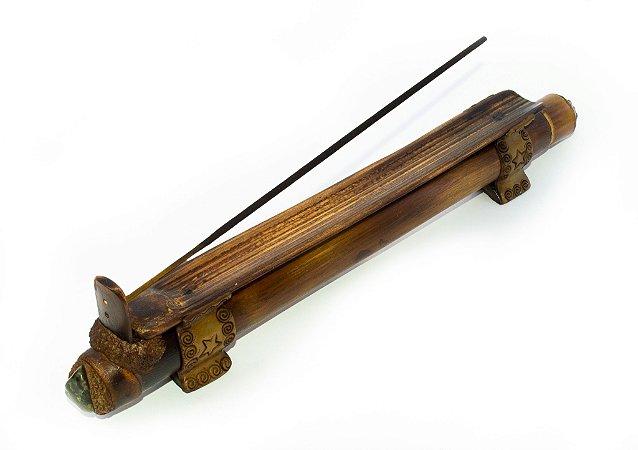 Incensário Artesanal de Bambu com Tampa de Rolha