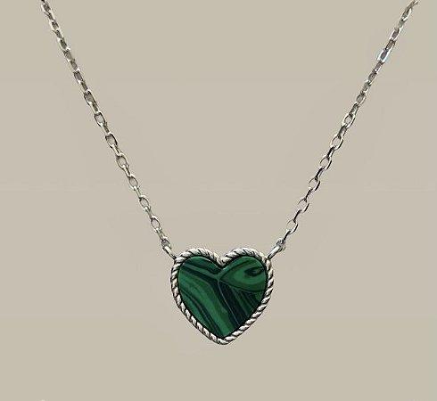 Colar coração malaquita prata 925