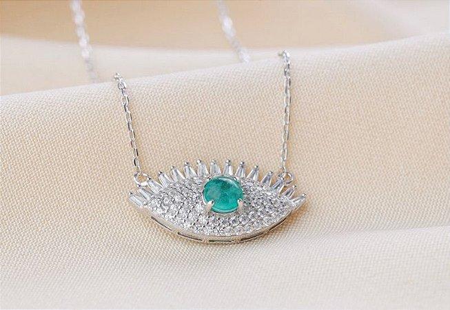 Colar olho grego esmeralda colombiana prata 925